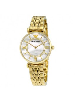 EMPORIO ARMANI Classic Mother Of Pearl Dial Gold-tone Stainless Steel Ladies Watch AR1907