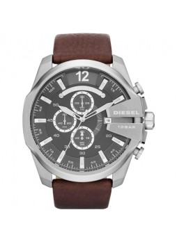 DIESEL Mega Chief Chronograph Grey Dial Brown Leather Men's Watch DZ4290