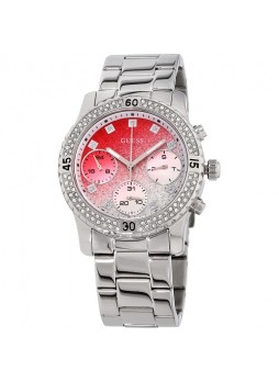 Guess Confetti Red Dial Stainless Steel Ladies Watch W0774L7