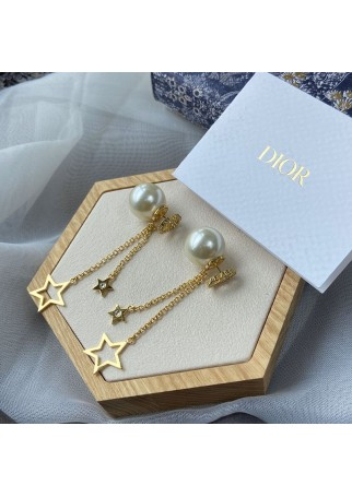 Dior Five-pointed Star Pearl Earrings