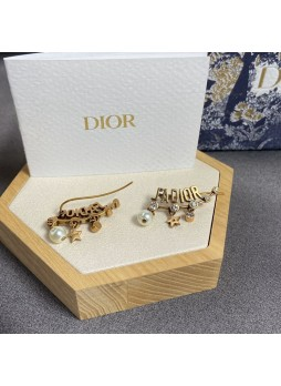 Dior J'Adior Crystal Vintage Gold Metal Cladding Earrings